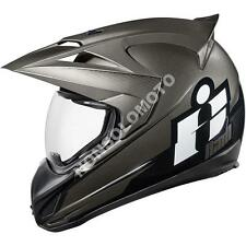 Casco Integrale Moto Cross Enduro Quad Icon Variant Double Stack Nero