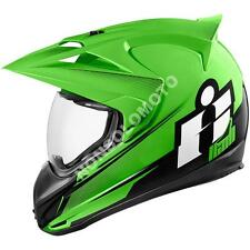 Casco Integrale Moto Cross Enduro Quad Icon Variant Double Stack Verde