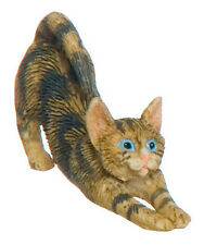 STRETCHING BROWN CAT 1:12 Scale Dollhouse Miniature Pet