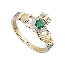 14ct Diamante,Smeraldo & Oro Celtico Irlandese Anello Claddagh