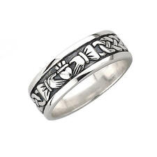 Solid Silver Irish Celtic Claddagh Band Ring Celtic Jewellery Made in Ireland