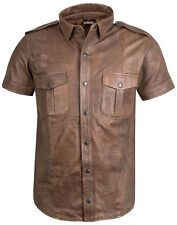 Lederhemd neu braun antik Hemd Leder brown leather shirt new Chemise Cuir