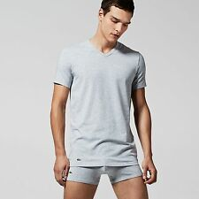 Lacoste Twin Double Pack V Neck Cotton T Shirts in Grey