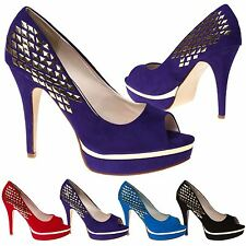 WOMENS COURT SHOES LADIES PEEP TOE PLATFORM STILETTO HIGH HEEL STUDDED SIZE NEW