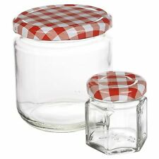 Glass Jam Honey Pickles Food Preserve Jars Metal Checkered Lids Home Wedding