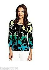 New M&S Per Una Cotton Floral Ombre Black Green Blue Cardigan Sz UK 10