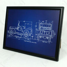 US Willys Jeep Framed Blueprint - Print Picture American WW2 Army Military Car