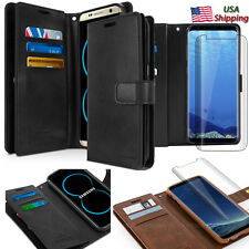 For Samsung Galaxy Note 9 S8 S9+ Leather Dual Shockproof Wallet Curve Glass Case