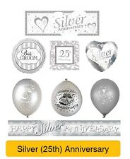 SILVER 25th Wedding ANNIVERSARY Party Banners, Balloons, Decorations