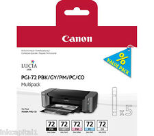 Canon PGI-72 Set of 5 x Original OEM Multi Pack Ink Cartridges PBK,GY,PM,PC,CO