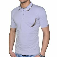 STEF WEAR - POLO MANCHES COURTES - HOMME - 705 LEOPARD - GRIS NEUF
