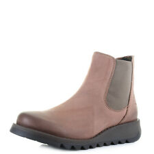 Womens Fly London Salv Cupido Rose Leather Flat Chelsea Ankle Boots  Size