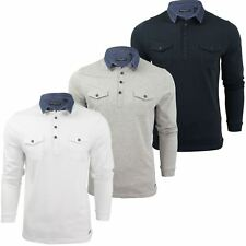 Mens Long Sleeved Polo T-Shirt by Brave Soul with Denim Collar