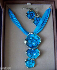 necklace and earring set enamel dangling pendant style in box colour choice new