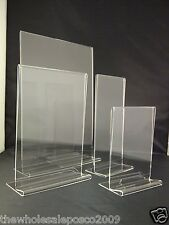 Double Sided Acrylic Poster Menu Holder Perspex Leaflet Display Stands T2 T