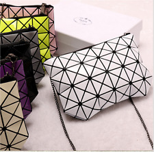 Ladies Large Bag Cosmetic Pouch Clutch Handbag Geometry Rhomboid Style Purse