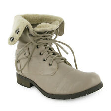59S LADIES CREAM FAUX FUR MILITARY ARMY BOOTS SIZE 3-8