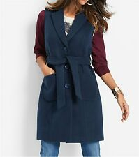Donna Gilet giacca in look-lana, 216007 blu scuro
