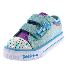 Kids Girls Skechers Shuffles Twinkle Toes Bow Buddies Glitter Trainers UK 1-11