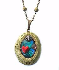 gold tone vintage VICTORIAN large hinged double photo locket hand made gothic