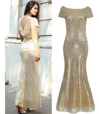 Gold Sequins Fishtail Mermaid Party Dress Bridal Bridesmaid Wedding Prom Gowns