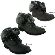 NEW LADIES FAUX FUR MILITARY COMBAT ARMY BOOTS SIZE 3-8