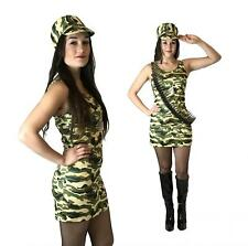 Ladies Commando Soldier Girl Fancy Dress Costume Camo Army Outfit Womens