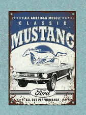 Metal plaque vintage retro style Ford Mustang decorative tin wall door bar sign