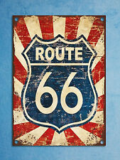 Metal plaque vintage retro style Route 66 sign decorative tin wall door bar sign