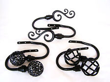 Matt Black Metal Curtain Tiebacks Hold Backs Twist Cage Ball Leaf Floral Swirl