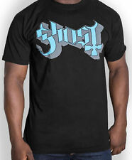 GHOST Classic Blue Grey Keyline Band Logo T-SHIRT OFFICIAL MERCHANDISE