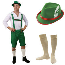 MENS OKTOBERFEST COSTUME GERMAN BAVARIAN BEER GUY GREEN LEDERHOSEN FANCY DRESS