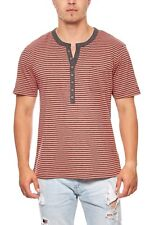 RUSTY NEAL Stripes Shirt Herren T-Shirt Freizeit-Shirt Rot R2599 Model-2 SALE