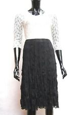 MARKS & SPENCER PER UNA BLACK CRINKLE LACE ELASTICATED WAIST SKIRT Sizes 12,20