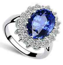 Mujer diana's Anillo Anillo De Compromiso Kate William Royal Azul COLOR PLATA