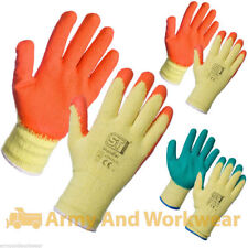 12 x Pairs Work Gloves Latex Rubber Coated Builders Brick Gardening Safety Grip