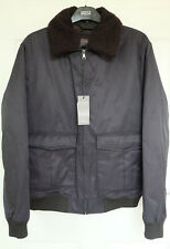 M&S Navy Quilted Lining Tailored Fit Jacket with Removable Borg Collar