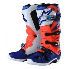 Alpinestars 2018 Tech 7 Troy Lee Adults Motocross Boots -  Red Flo/ Blue/ White