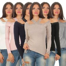 11333 exclusif femmes pull à maille fine Pull tricot manches longues rivets