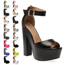 NEW WOMENS ANKLE STRAP LADIES PLATFORM PEEP TOE HIGH HEEL SANDALS SHOES SIZE 3-8