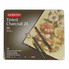 Derwent Tinted Charcoal Tin Sets 12 24 artists quality charcoal pencils