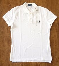 POLO RALPH LAUREN WOMENS GENUNE NEW WHITE SKINNY FIT COTTON POLO SHIRT ALL SIZES