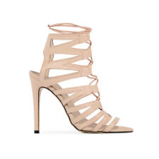 Womens Lace Up Details Design Open Back Stiletto Peep Toe High Heels In Nude 3-8