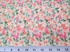 Discount Fabric Quilting Cotton Peach, Pink and Green Floral K405