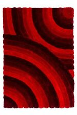 CANADA - OTTAWA ROUGE Tapis moderne design shaggy poils longs POIL LONG SOUPLE