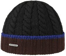 Stetson Knit Hat Cap Folding Hat Virgin Wool 16 Black Brown cfb32fee613c