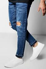 Boohoo Skinny Fit Mid Blue Jeans With Ripped Knees per Uomo