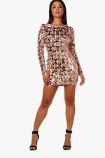 Boohoo Rose Sequin Lace Up Back Bodycon Dress per Donna