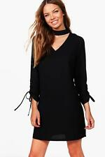 Boohoo Natalie Choker Plunge Tie Sleeve Shift Dress per Donna