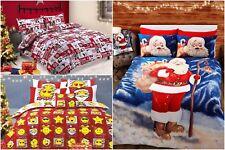 Christmas Xmas Festive Duvet Quilt Cover Bedding Sets / Single Double & King